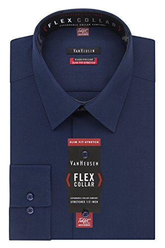 Van Heusen Men's Dress Shirt Slim Fit Flex Collar Stretch Solid, Night Blue, 17