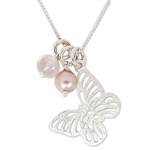 Rose Quartz Pendant Butterfly - NOVICA Dyed Pink Cultured Freshwater Pearl and Rose Quartz Pendant Necklace,17.75