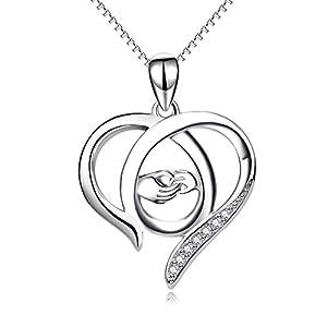 Regali per mamma, in argento Sterling con ciondolo a forma di cuore, per donna, mamma, madre