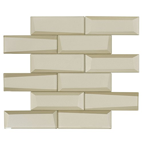 - MTO0159 Modern Faceted Beveled Subway Beige Glossy Metallic Glass Mosaic Tile