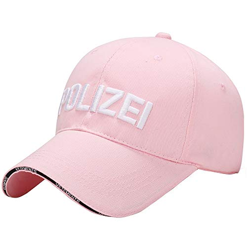iCJJL Polizei Letters Quick Dry Sport Fitness Mesh Breathable Snapback Adjustable Baseball Cap for Men Women Pink (Polizei-designer)