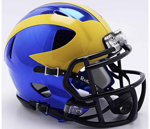 Riddell Chrome Michigan Wolverines Speed Mini Football Helmet 2018 Chrome Alternate