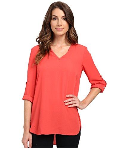 karen-kane-roll-tab-shirttail-top-coral-womens-clothing