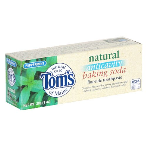 Toothpaste Peppermint Baking Soda (Tom's of Maine Natural Anticavity Baking Soda Fluoride Toothpaste, Peppermint, 1-Ounce Tubes (Pack of)
