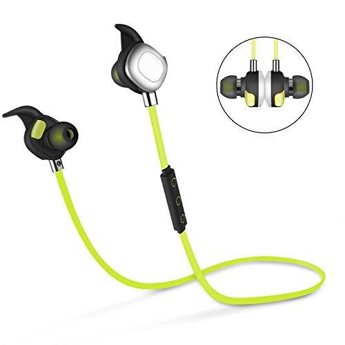 COSPOR Bluetooth Headphones,Top Sports Magnetic Earphones HD Stereo Sweatproof Earbuds with Mic (Green)
