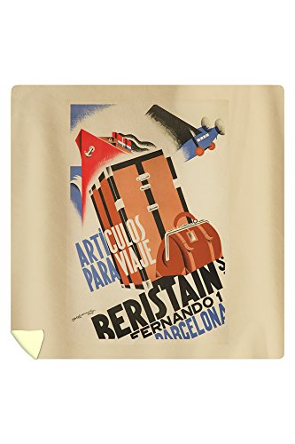Beristain - Articulos para Viaje Vintage Poster (artist: Bofarull) Spain c. 1932 (88x88 Queen Microfiber Duvet Cover) by Lantern Press