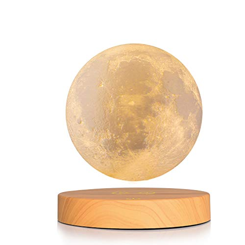 Magnetic Levitate Moon Lamp, GDPETS 3D Printing 5.9 Inches 2 Colors Levitating Moon Light with Remote, USB Rechargeable, Creative Christmas Gift