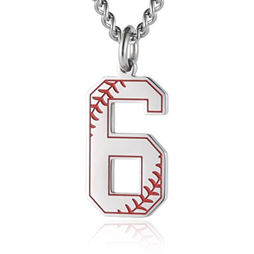 HZMAN Baseball Initial Pendant Necklace Inspiration Baseball Jersey Number 0-9 Charms Stainless Steel Necklace (6 - Silver)