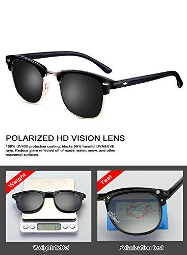 48aa0ff2ec Clubmaster Sunglasses for Men Women - wearpro Retro Semi-Rimless Polarized  Sun Glasses WP1006 (