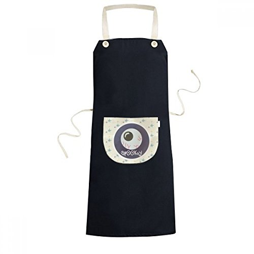 DIYthinker Halloween Round Lifelike Eyeball Cooking Kitchen Black Bib Aprons With Pocket for Women Men Chef Gifts]()
