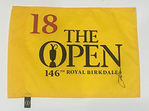 JORDAN SPIETH SIGNED 2017 BRITISH OPEN FLAG ROYAL BIRKDALE PROOF JSA LOA