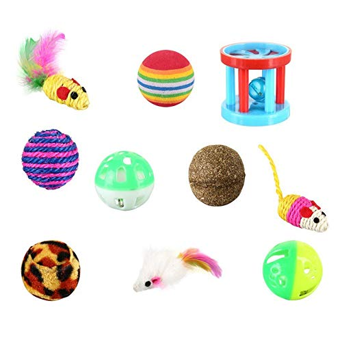 Amazon.com : Best Quality 2018 New cat Toy Set - 12 Pieces cat Toy Funny cat Stick Mouse sisal Ball Gift Value Combination 12 Sets : Pet Supplies
