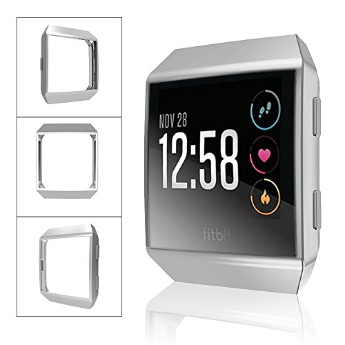 Fitbit Ionic Watch protect Case,Omni-directional Protect Screen Soft TPU Ultra-thin HD Clear Cover for Fitbit Ionic smart Watch (clear+silver) by ZRXS (Image #3)
