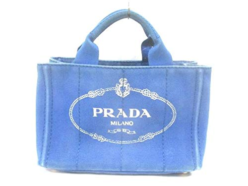 (プラダ)PRADA トートバッグ CANAPA ブルー 【中古】 B07K687NW8