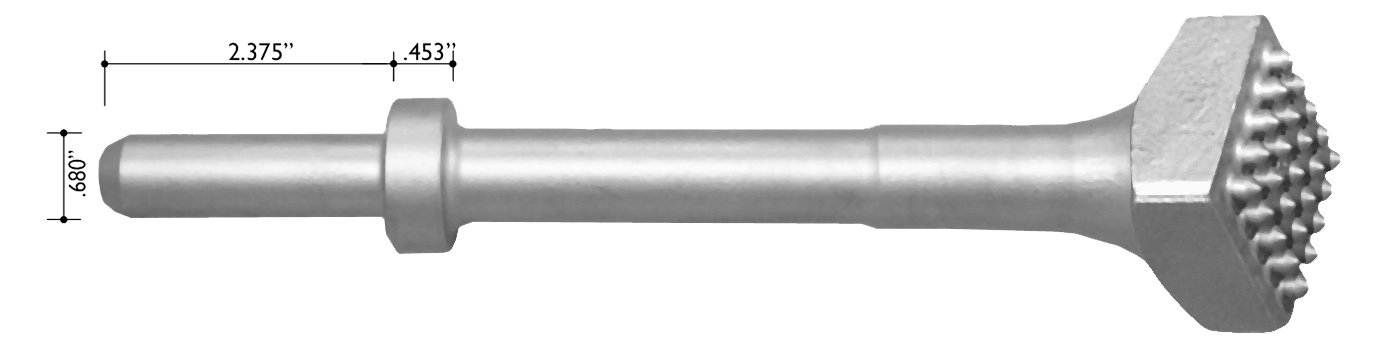Champion Chisel, Carbide Tipped Bushing Tool with 25 teeth, .680 Round Shank Oval Collar, Designed for .680 Round Chipping Hammer with Oval Retainer