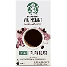 Starbucks VIA Instant Decaf Italian Roast Dark Roast Coffee (1 box of 7 packets)