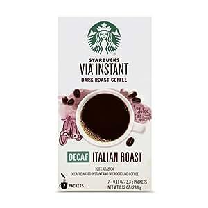 Starbucks VIA Instant Decaf Italian Roast Dark Roast Coffee (1 box of 7 packets)