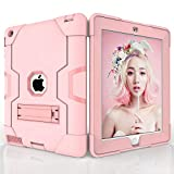 for iPad 2 3 4 Case [Shockproof Hybrid Case] 3 Layer Plastic and Rubber Protection Heavy Duty Rugged Protective Cover - with Kickstand - Full Body Armor Defender - Drop Proof