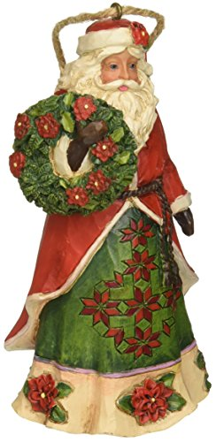 Santa Hanging Ornament - Enesco JS HWC H/O Poinsettia Santa Hanging Ornament