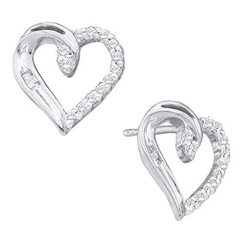 Jewel Tie 14k White Gold Round Baguette Diamond Heart Studs Earrings (1/6 cttw.)