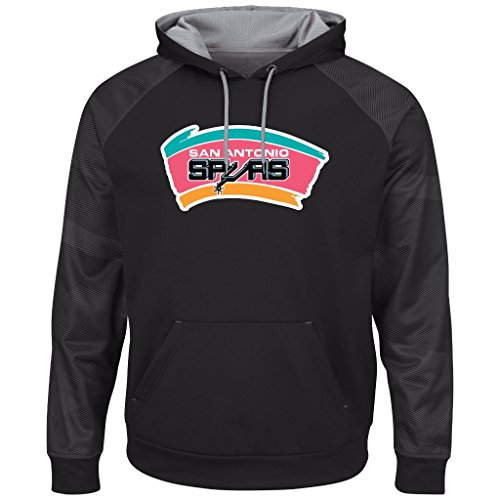 Majestic NBA Men's Armor II Polyester Pullover Hoodie (XL, San Antonio Spurs) by Majestic