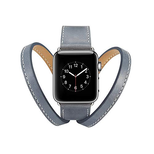 Cywulin Compatible with Apple Watch Band 38mm 40mm 42mm 44mm, Double Tour Leather Replacement Loop Wrist Strap Bracelet for iWatch Series 4 3 2 1 Men Women Stainless Steel Clasp (38mm/40mm, Gray) ()