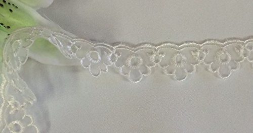 Cheapest Prices! 10 Yards, Scalloped Organza Lace Trim, Ivory, 1 Inch