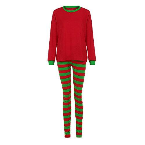 Hot Sales!! ZOMUSA Christmas Winter Pajamas Long Sleeve and Striped Bottoms Cotton Blouse +Pants Set Sleepwear