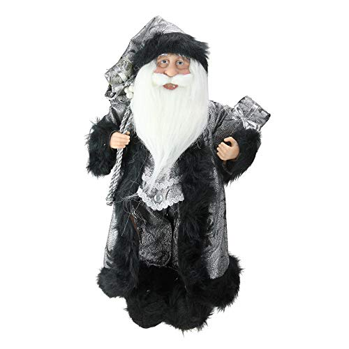 Northlight Standing Santa Claus in Silver and Black with Gifts Christmas Figure, 16