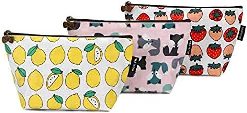 Sea Team 3pcs Waterproof Fabric Cosmetic Bags Portable Travel Toiletry Pouch Makeup Organizer Clutch Bag with Zipper (ST-CB0622A)