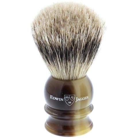 Edwin Jagger Silver Tip Badger Shaving Brush, Medium, Imitation Horn