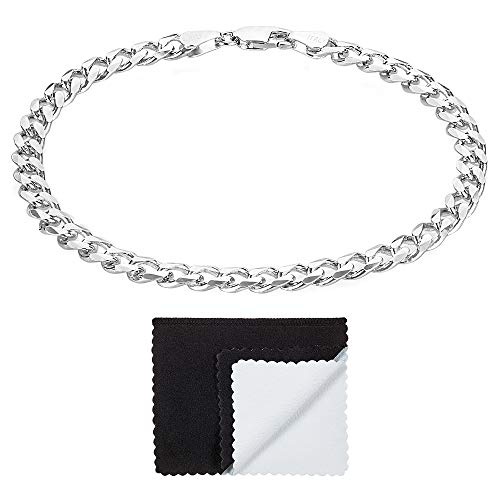 Men's 5.5mm Thick 925 Sterling Silver Beveled Cuban Link Curb Chain Bracelet, 9