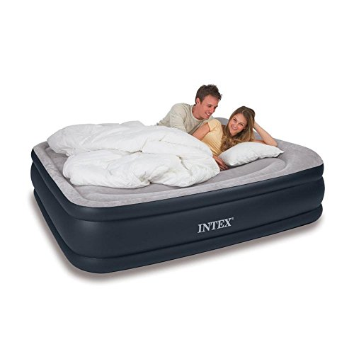 Intex Deluxe Pillow Rest Raised Airbed with Soft Flocked Top for Comfort, Built-in Pillow and Electric Pump, Queen, Bed Height 16.75