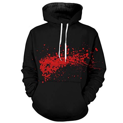 Keepline Men Halloween Bloody Printed Hoodie Scare Theme Party Hooded Sweatshirt Sweater]()
