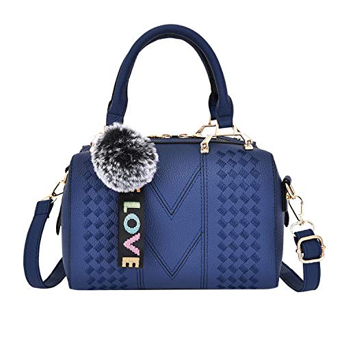 Womens Embroidered Handbag, Ladies Leather Messenger Shoulder Bag Shopping Work Satchels Phone Cosmetic Top-Handle Bags (Blue) ()