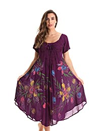Riviera Sun Short Sleeve Summer Dress with Floral Hand Painted Design