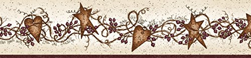 Chesapeake BBC65171B Sassafras Curly Stars Trail Wallpaper Border, Red ()