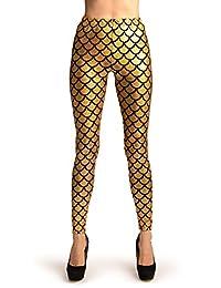 Gold Shiny Gloss Mermaid Scales Leggings - Leggings