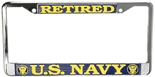 Honor Country US Navy Retired License Plate Frame (Chrome Metal) ()