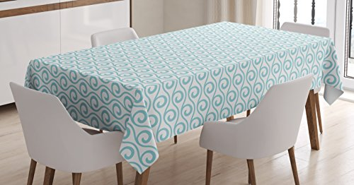 Chevron Tablecloth by Ambesonne, Classical Compact Design of Zigzags Upped Simplistic Texture Tile Horizontal, Dining Room Kitchen Rectangular Table Cover, 52 W X 70 L Inches, Light Blue White 52w Compact