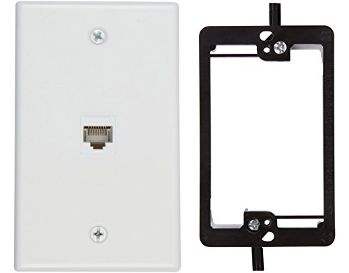 Cat5 Wall Outlet (Buyer's Point 1 Port Cat6 Wall Plate, Female-Female White with Single Gang Low Voltage Mounting Bracket Device (1 Port))