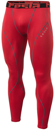 Red Thermal (TM-YUP33-RED_Medium Tesla Men's Thermal Wintergear Compression Baselayer Pants Leggings Tights YUP33)