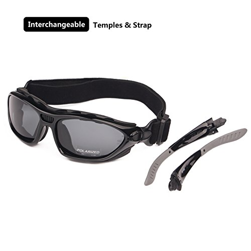 Motorcycle Goggles Polarized Clear Lenses for Day, Helmet Sunglasses Interchangeable Temples Strap (Polarized - Temples Interchangeables Sunglasses