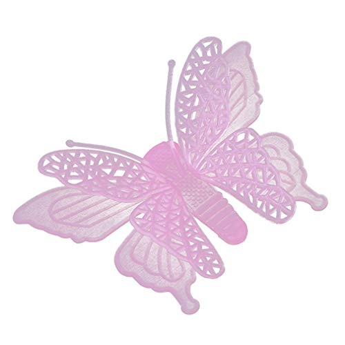 Xeminor Premium 6pcs Glow in The Dark Butterfly Sticker Luminous Wall Sticker Decoration for Nursery Kids Bedroom Pink by Xeminor (Image #1)