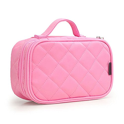 MONSTINA Cosmetics Bag,Double Layer Makeup Bag, With Mirror Beauty Makeup Brush Bags Travel Kit Organizer,Cosmetic Bag Professional Multifunctional Organiser For Women (Double Layer, M-Pink) by MONSTINA