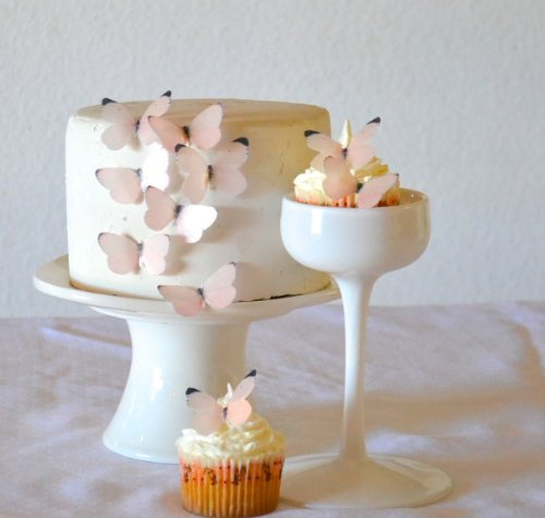 Edible Butterflies © - Small Pastel Pink Set of 24 - Cake and Cupcake Toppers, Decoration Sugar Robot inc.