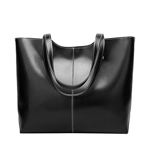 Tote Black Capacity Large Style American Briefcase Bag Daily And European Simple Bag Vintage Work Women's PU Leather w1z7EaqB