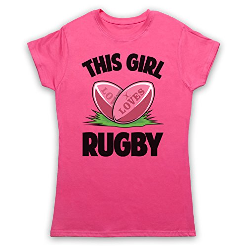 My Icon Art & Clothing This Girl Loves Rugby Rugby Slogan Damen T-Shirt Rosa