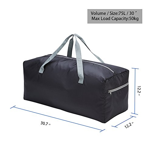 """Foldable Duffel Bag 30"""" / 75L Lightweight with Water Rresistant for Travel (Black)"""