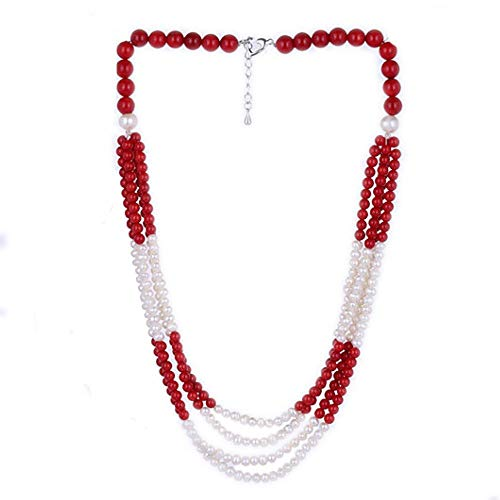 (Gem Stone King 15inches 3-Row Red Coral & White Cultured Freshwater Pearls Necklace + 2'' Extension)